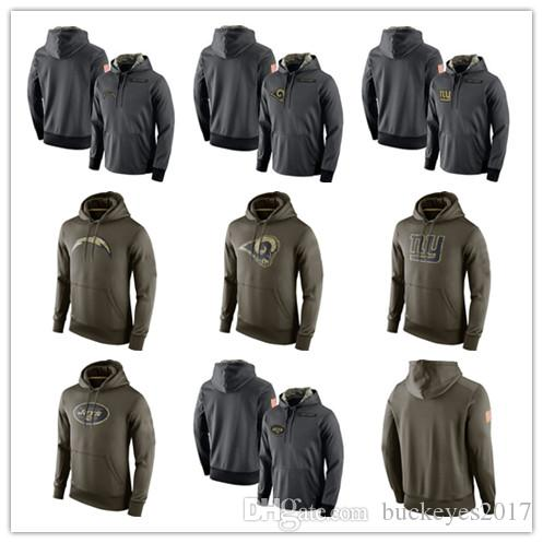 competitive price 50564 72028 Los Angeles Chargers Gray Los Angeles Rams Olive New York Giants Salute to  Service Sweatshirt New York Jets Player Performance Hoodies