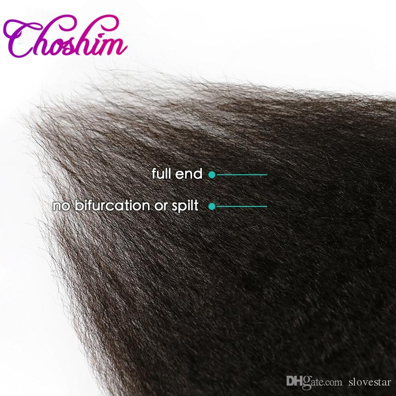 Coarse Yaki Kinky Straight Clip In Hair Extensions 100% Brazilian Human Remy Hair And 120gNatural Color