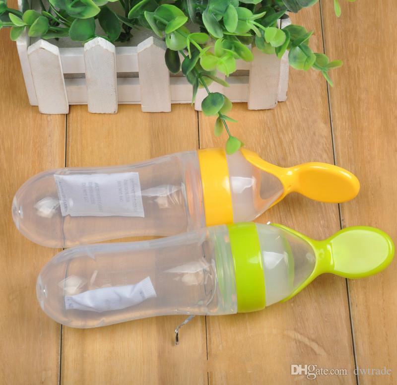 طفل رضيع لصق الأكل التدريب سيليكون زجاجة مع ملعقة الأطفال المكملات الغذائية ضغط زجاجة عجينة الأرز ملعقة 90ML 5 ألوان