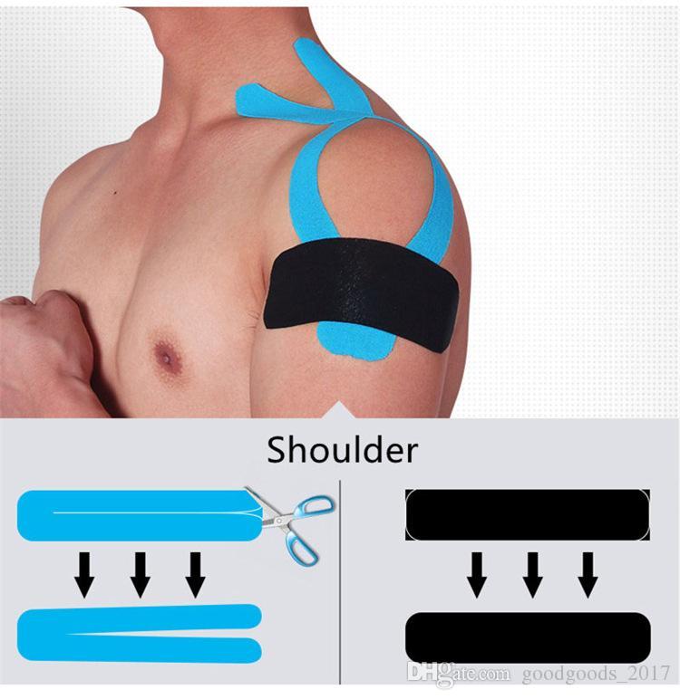 NUOVI 2.5cm x 5m nastri FiveSize Kinesiologia Kinesio rotolo adesivo elastico cotone muscolari Sport nastro Bandage Physio Strain Injury Support MK216