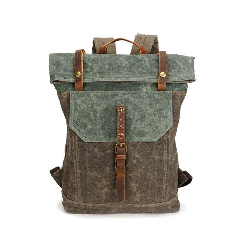 fdfae7ea4625 2018 Mens Backpack Vintage Shoulder Bags Student School Bag Travel Bags For  Men Waterproof Canvas Bagpack Cool Fashion Outdoor Sport Bags Black Leather  ...