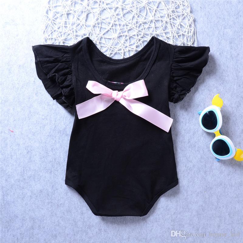Bowknot девочка ползунки хлопок малыш комбинезон одежда розовый черный onesies с коротким рукавом боди с рюшами рукавом милые девушки малыш ползунки костюм