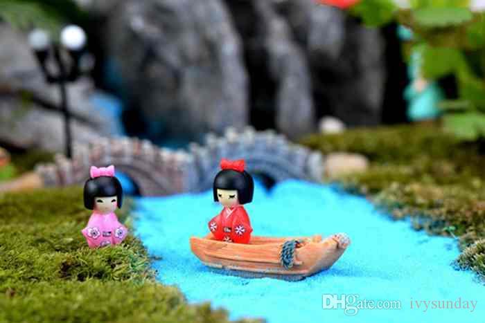 Девушка в кимоно милая кукла орнамент микро ландшафтные украшения мох террариум растения горшок аксессуары поделки поделки материалы игрушки для детей
