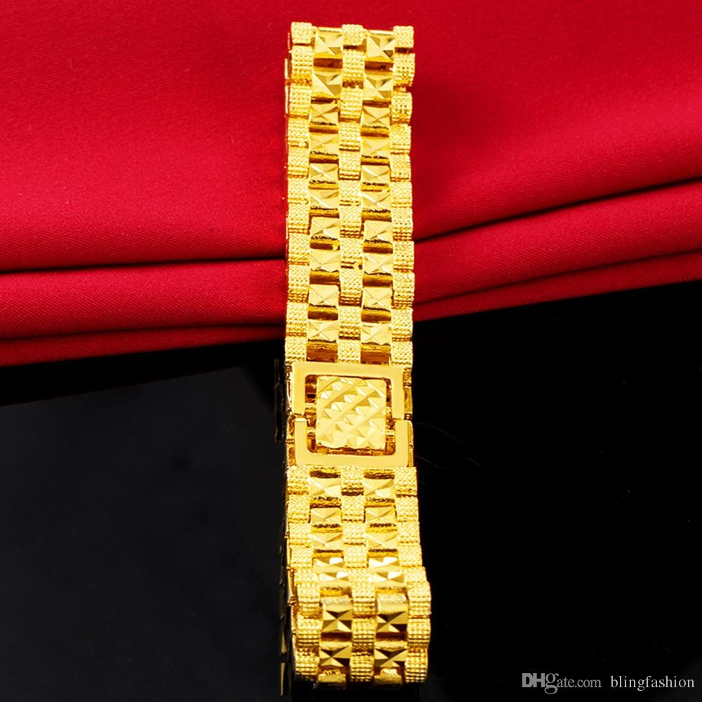 Womens Mens Bracelet Wrist Chain 18k Yellow Gold Filled Solid Fashion Bracelet Statement Jewelry Classic Style 20cm Long