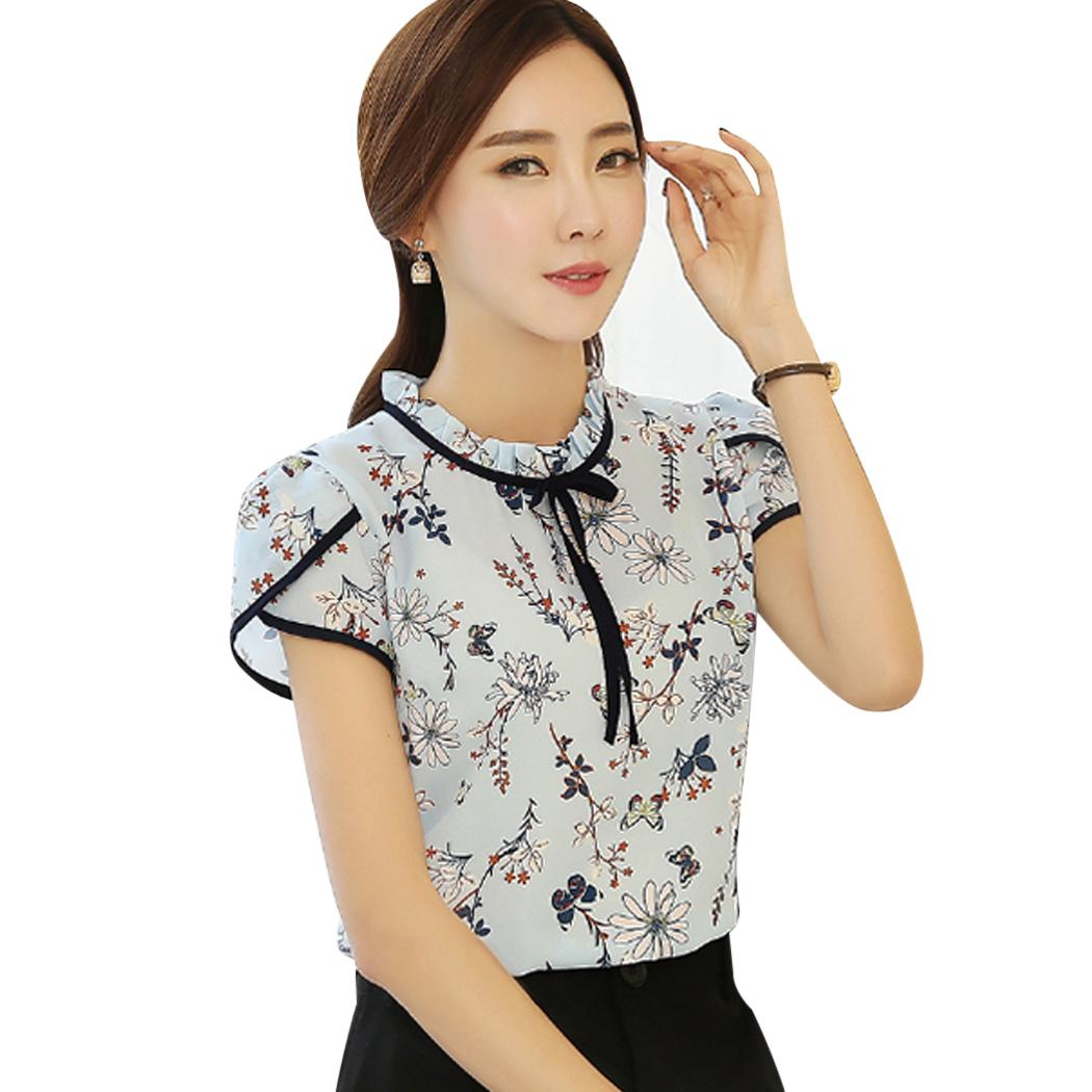 a3eb4f71742 2019 2018 Summer Floral Print Chiffon Blouse Women Short Sleeve Slim Tops  Shirt Ladies Stand Collar Bow Neck Blouses Blusas Mujer From Kennethy
