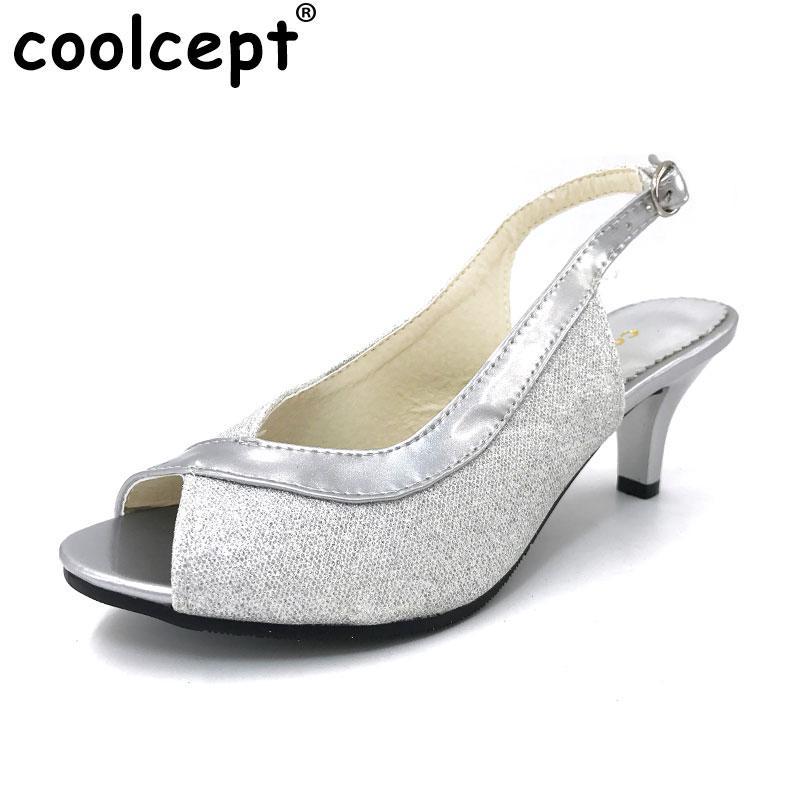 4c03fffcef1 Coolcept Women Peep Open Toe High Heel Sandals Lady Thin Heels Party  Wedding Shoes Woman Back Strap Footwear Size 30-46 PA00328