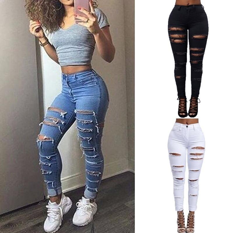a90662b31067 Acheter Femmes Sexy Ripped Jeans 2018 Printemps Et Automne Femmes Trous  Découpés Punk Street Jeans Denim Pantalon Taille Haute Slim Cowboy Jeans  Pantalon De ...