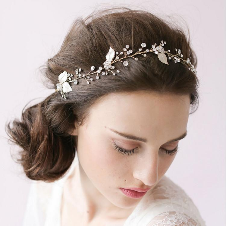 2018 New Bridal Hair With Hand Drill Crystal Wedding Gown