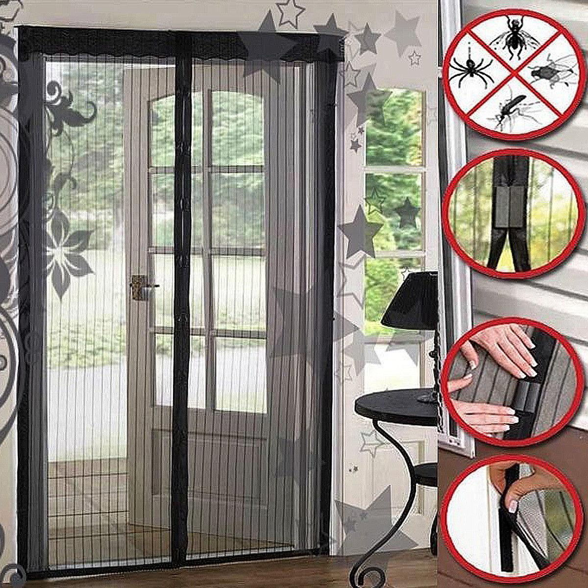 Magic Mesh Hands Free Screen Door Magnets Anti Bug Fly Mosquito Door