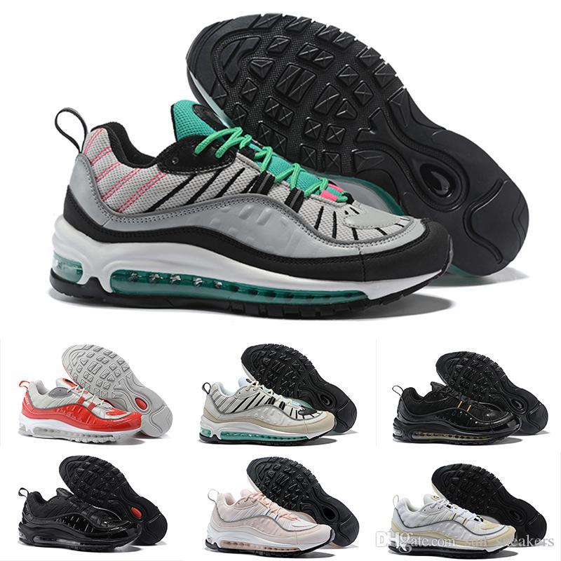 super popular 696dd 9d57c Compre 2018 Nike Air Max 98 Chaussures Calientes OG 98 Gundam X Bullet Off  Negro Blanco Rojo Zapatos Para Hombre Max98s Mens Sports Brand Run Sneakers  ...