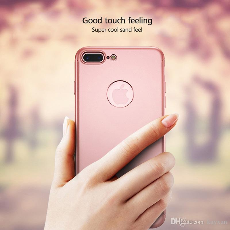 360° Luxury Protective PC phone case For iPhone X 8plus Matte Phone Cases with tempered glass For Xiaomi 5 Full Phone cover package