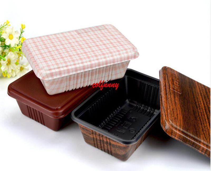 300 шт./лот творческий дерево зерна дизайн одноразовые пищевой контейнер Снэк упаковка коробки микроволновой печи PP Бенто коробка F051406