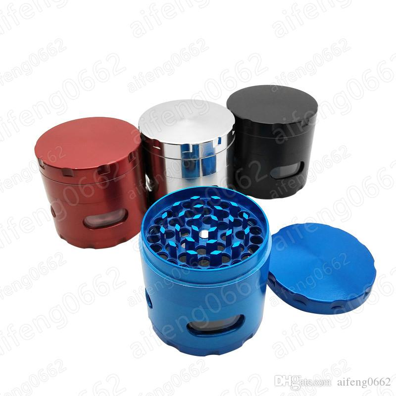도구를 수행하는 최고 품질의 55mm 직경 4 개 부품 드라이 허브 그라인더 다채로운 필터 담배 꽃가루 분쇄기 포수 그라인더 쉬운