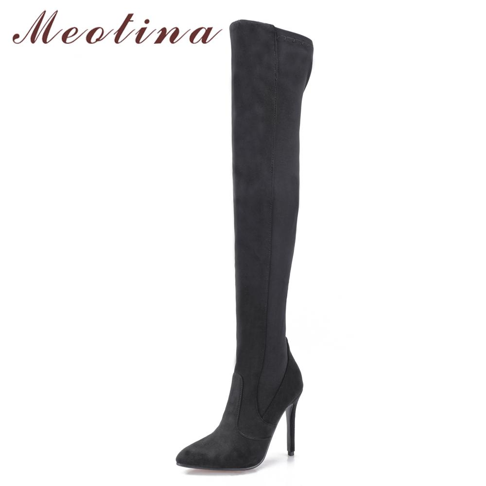 22e72ca150bd Meotina Thigh High Boots Women Sexy Over The Knee Boots Elastic Fabric Thin High  Heel Pointed Toe Ladies Shoes Red Gray Brown Ankle Boots Fly Boots From ...