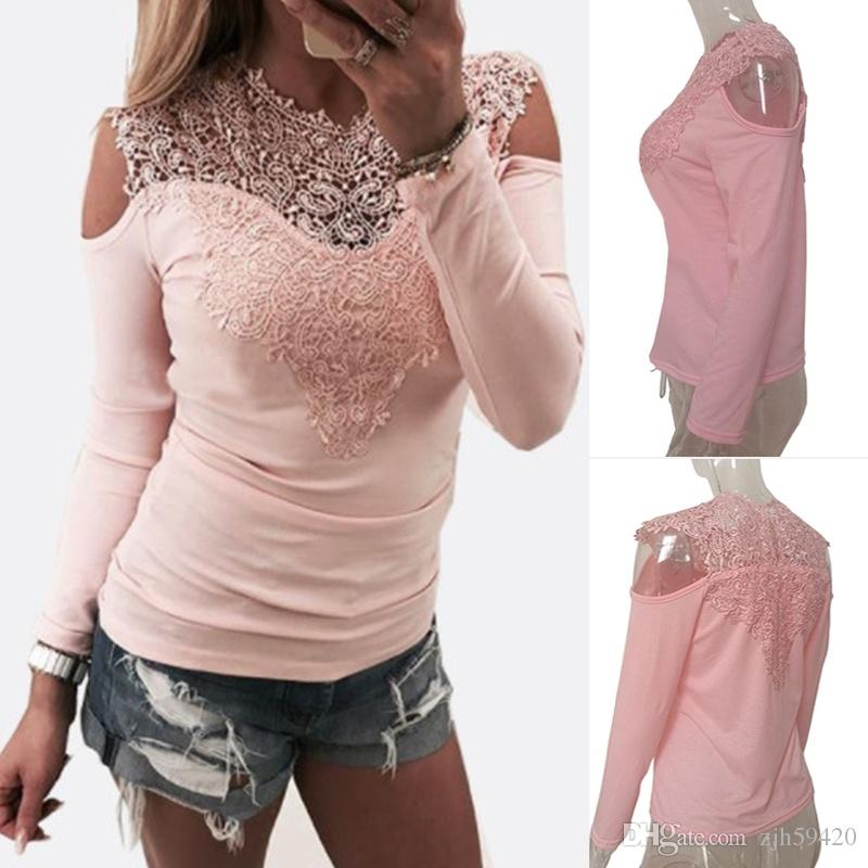 98c1b1d6e9183a Women Vintage Lace Blouses Lacework V Neck T Shirts Off Shoulder Long  Sleeve Slim Cotton Tops Sexy Girls Clothing Hollow Out Bottoming Shirt 10 T  Shirt ...