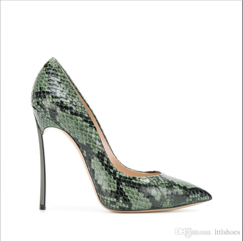 d5880411dbc Plus size 43 Sexy Women Python Pumps Dressed Pointed Toe Snakeskin High  Heels Blade Heeled Slip on Stilettos 8cm 10cm 12 cm Heels
