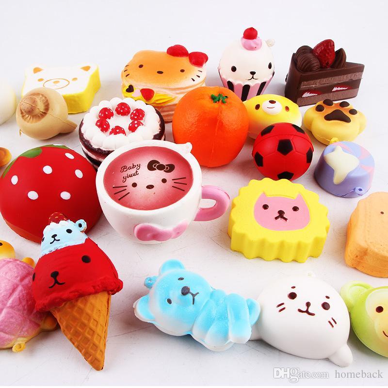 Simulation Brot Anhänger 10 teile / satz Antistress Spielzeug für Kinder Kinder Squeeze Langsam Steigenden Spielzeug Squishy Stress Reliever