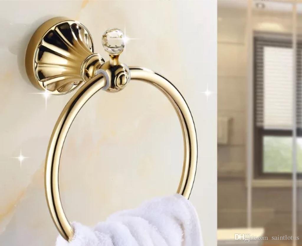 Towel Holder Golden Crystal Stainless Steel Bath Towel Rings Wall ...