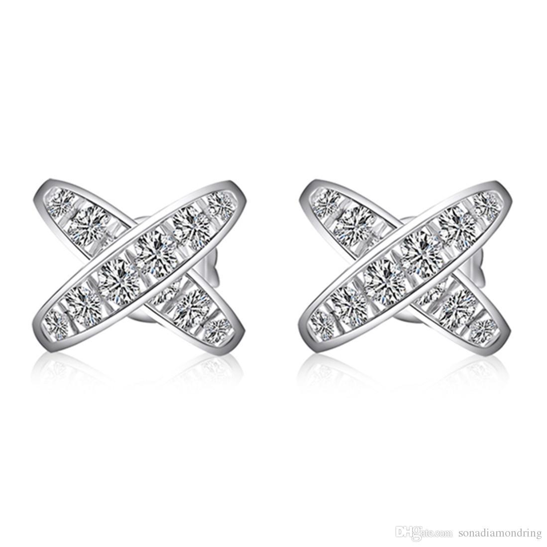 111017ee5d94d0 Acquista Orecchini A Bottone Con Croce In Argento 925 Con Perno Orecchini A  Perno Con Diamante In Argento Con Collana NSCD Orecchini In Oro Bianco 18  Carati ...