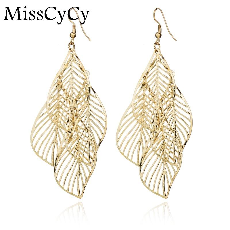 217738bc39fc 2019 Fashion Hollow Flower Gold Color Leaf Drop Earrings Pendientes Mujer  Jewelry Tassel Long Earrings For Women Boucle D Oreille From  Jiekeyi20170213