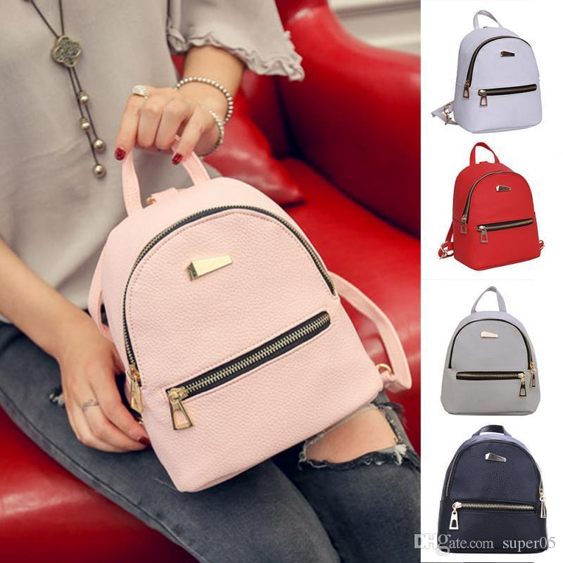 Women Backpack New Fashion Casual PU Ladies Backpack Candy Color Korea  School Style Solid Student Mini Backpack Fashion Leather Feminine Online  with ... f8fdb90b41