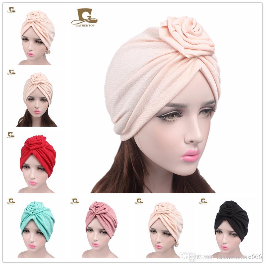 399ace0d5 Compre Mujeres Elegantes Rosa Flor India Turbante Gorro De Quimio Señoras  Bandanas Head Wrap Mujer Sombrero Turbante Accesorios Para El Cabello A  $2.32 Del ...