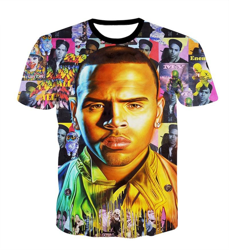 0a518c1cc47a 2018 New Fashion Womens Mens Summer Super Star Chris Brown Sleeve ...