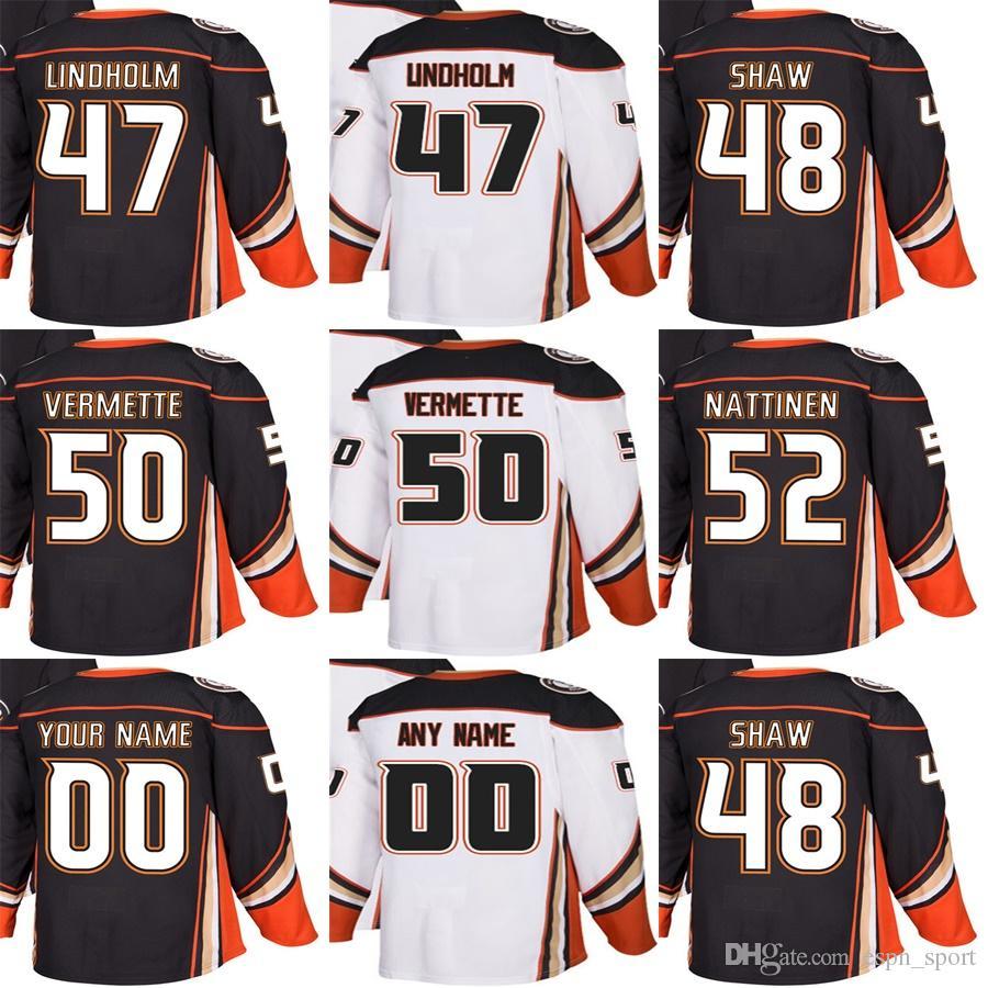 43c47c848 2019 2018 New Brand Adults Anaheim Ducks 47 Hampus Lindholm 48 Logan Shaw 50  Antoine Vermette 52 Julius Nattinen Ice Hockey Jerseys Accept Custom From  ...