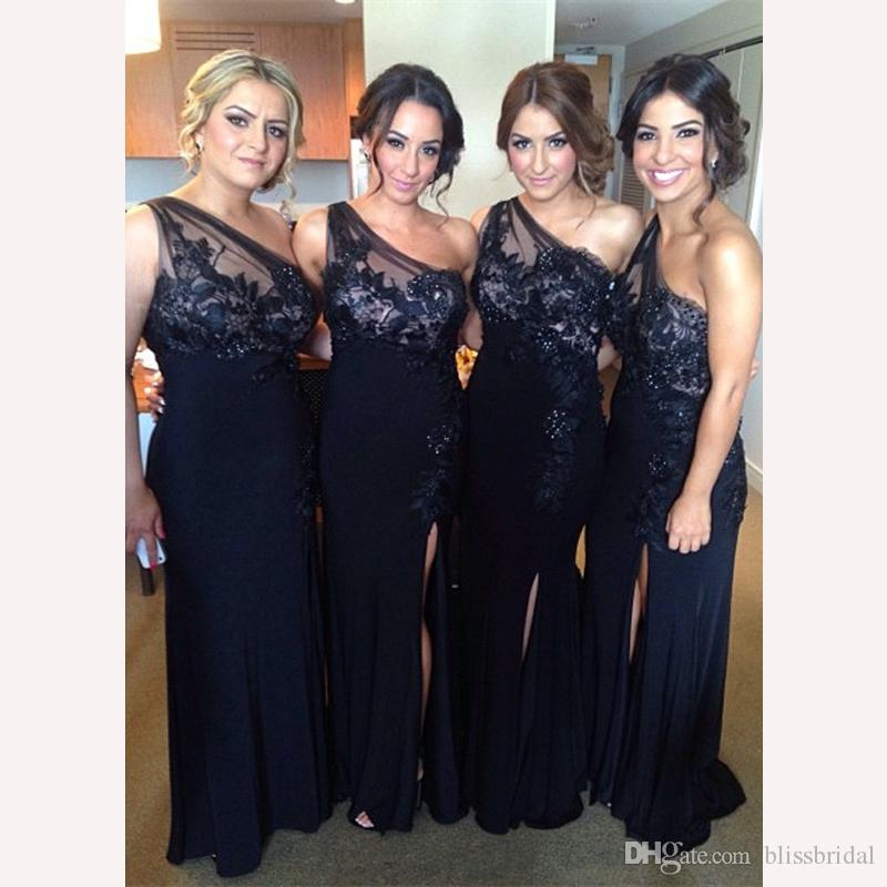 2018 Modest One Shoulder Lace Chiffon Bridesmaid Dress Applique Sheer Neck Front Split Navy Blue/Black maid of honor Dress Floor Length