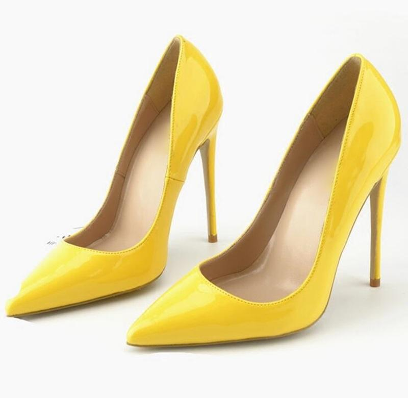 7f4cf3d4ad1dc Best Selling Patent Leather High Heel Pumps Fashion Yellow Pointed Toe Women  Party Shoes Sexy Spring Summer Thin Heels Shoes Bass Shoes Skechers Shoes  From ...