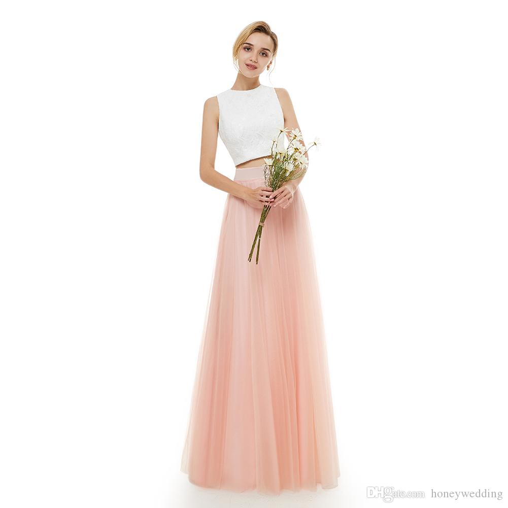 Two Pieces Prom Dresses 2019 Pink Skirt Ivory Top Evening Gowns Real ...
