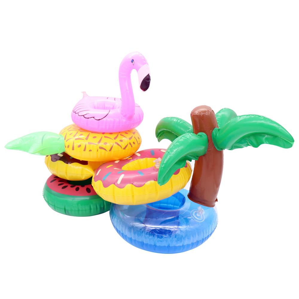 Kawaii Flamingo Floating Inflatable Coasters Drink Cell Phone Coke Cup Holder Stand Pool Event & Party Decoration Toy For Kids