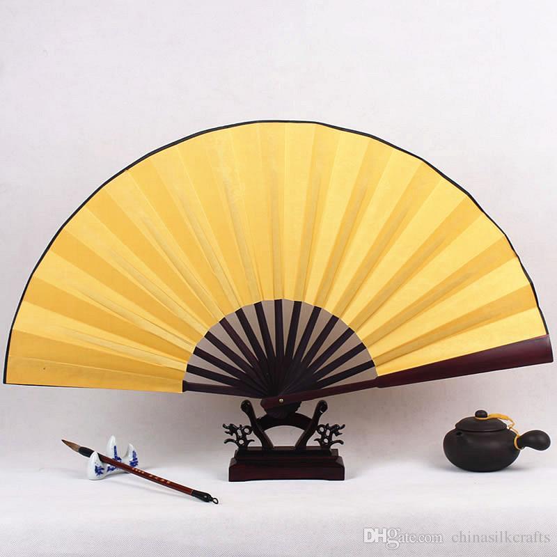 Blank Black Hand Fan Large Chinese Bamboo Silk Folding Fan DIY Wedding Program Fan Adult Fine Art Painting