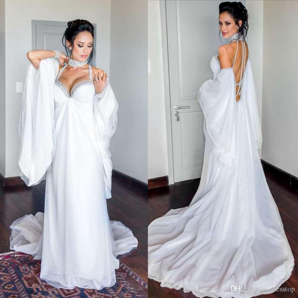 Backless Boho Wedding Dresses Halter Neck A Line Beach Bridal Gowns Sweep  Train Custom Made Crystal Vestido De Novia Wedding Dress Sexy Wedding Dress  ... a5063675e2b6