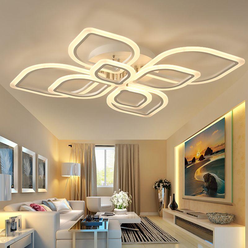 gro handel moderne acryl led deckenleuchte berlappende rahmen gro e luxus deckenleuchte f r. Black Bedroom Furniture Sets. Home Design Ideas