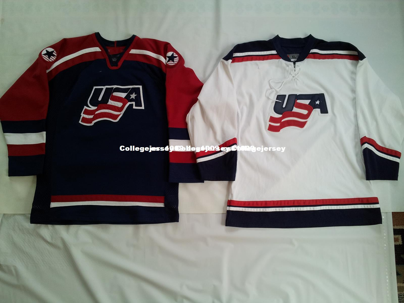 Cheap Custom TWO VINTAGE USA NATIONAL TEAM HOCKEY JERSEY S Stitched ... 9d5e5b2b964