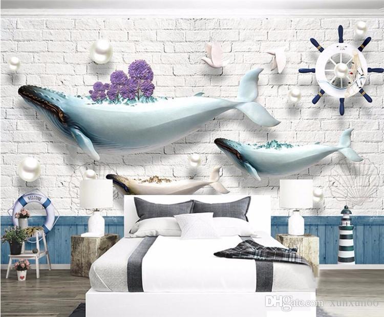 Özel Fotoğraf Duvar Kağıdı Duvar Sticker Okyanus Balina Deniz Feneri Yelkenli Tekne Tuğla Akdeniz Continental Backdrop Duvar 3d duvar kağıdı