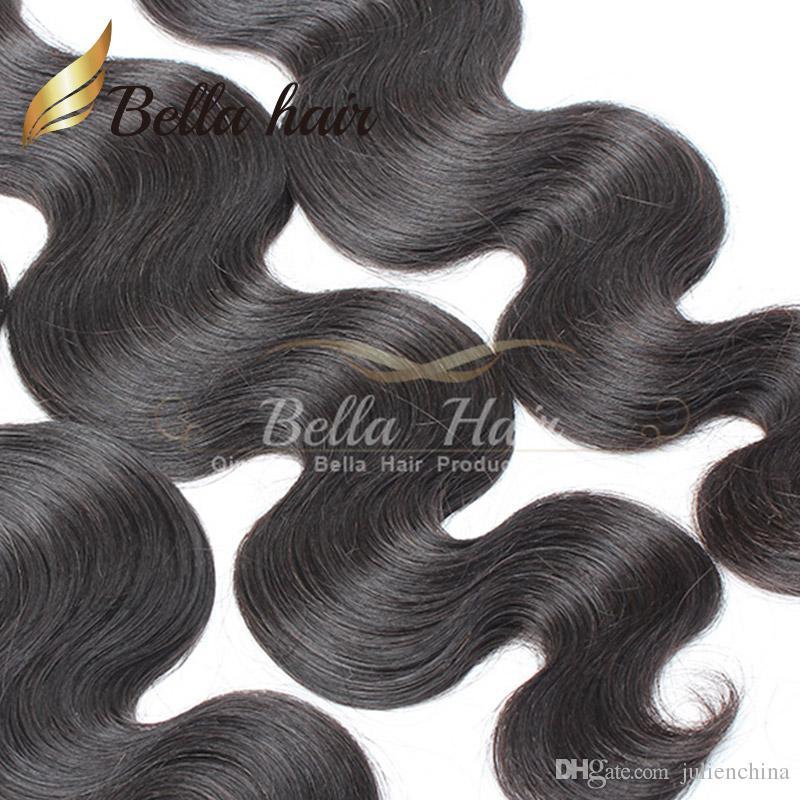 Bella Hair® 100% unverarbeitete brasilianische Verlängerung natürliche Farbe Haarwebart 4 Bündel 9A Wellenförmige Körperwelle