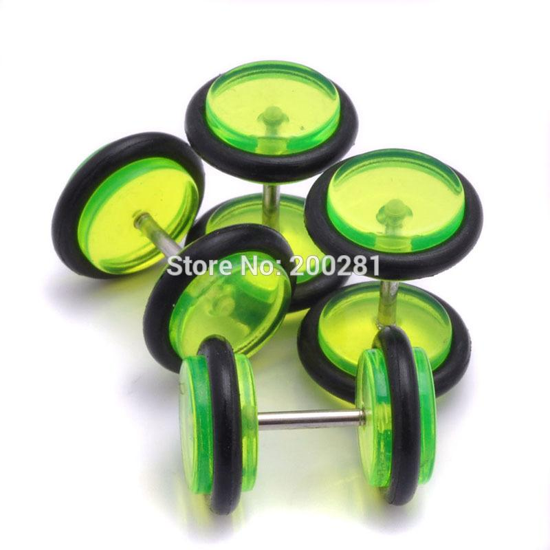 Stainless Steel Dumbbell Fake Cheaters Faux Illusion Plugs Tapers Tunnel Stud Earrings Men Women Gift Multicolor