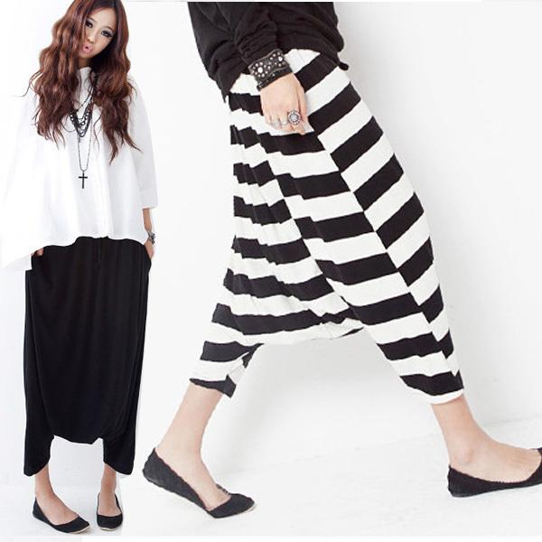 Nueva Llegada 2017 Moda Mujeres Caída Entrepierna Baggy Pantalones Capris Recortada Harem Noveno \ Séptimo \ Quinto Pantalones Pantalones