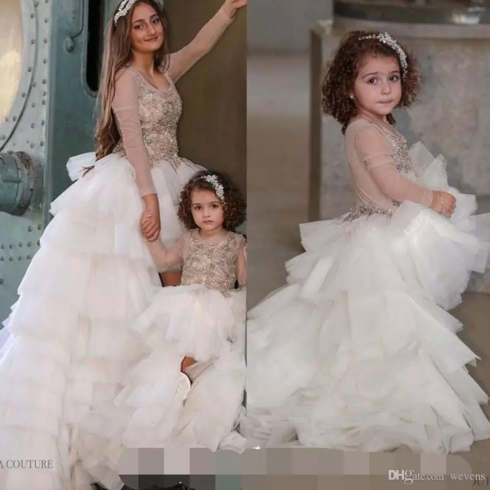 Unico High Low Ivory Little Kids Abiti per la festa nuziale Gioiello collo manica lunga a file Baby Girls Pageant Gown Increspature Toddler Prom Gowns