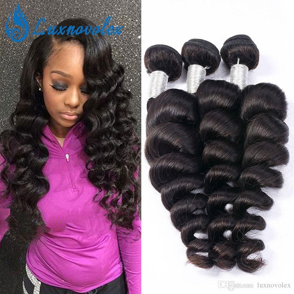 Brazilian Human Hair Weft Loose Wave 3 bundles Unprocessed Brazilian Virgin Hair Loose Wave Bundles Hair Extensions Natural Color