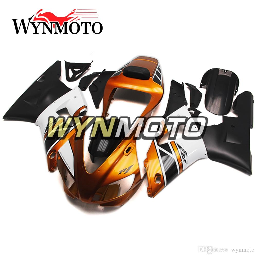 Motorcycles ABS Plastic Full Bodywork For Yamaha YZF 1000 R1 YZF1000 1998 1999 Fairing Kits Body Kits Gold White Black Free Customize Hulls