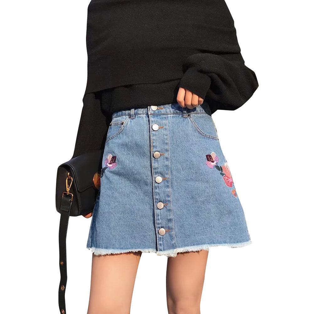 73ea7200ee249b Jeans Femmes Jupe Broderie Denim Jupes Mini Casual Vintage Trou déchiré  déchiré Au-dessus du genou Rose Floral brodé Empire Saia