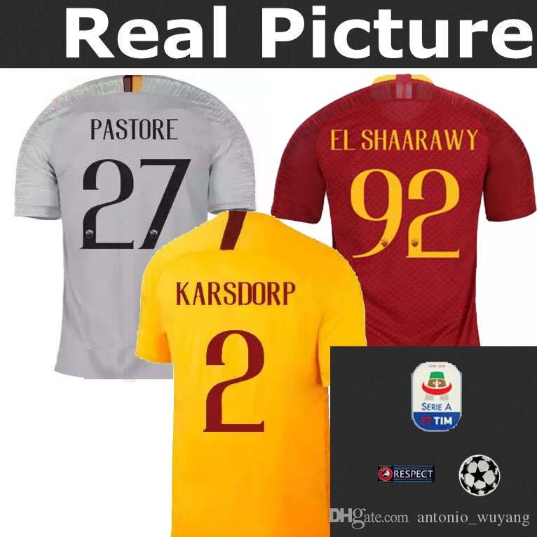 2019 AS ROMA ROME 2018 2019 Top Best Quality Home J.JESUS 5 Kit Kids Childs  Youth Soccer Jersey 18 19 DZEKO DE ROSSI EL SHAARAWY Football Jersey From  ... 5ec2cdb32cb4d