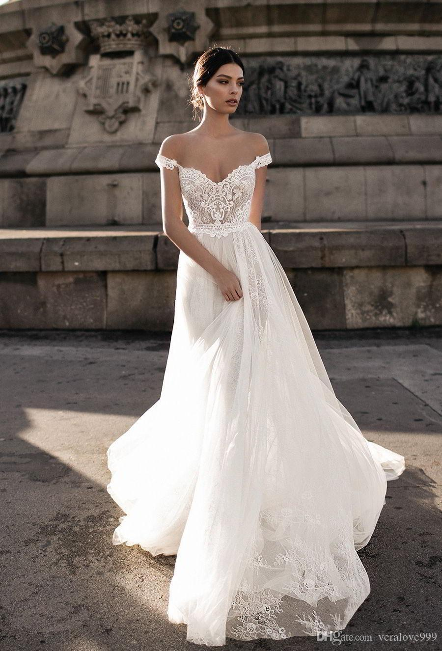 Gali Karten 2019 Sheer Bohemian Wedding Dresses Off the Shoulder Lace Illusion Bodice Tulle Sweep Train Backless Bridal Gowns