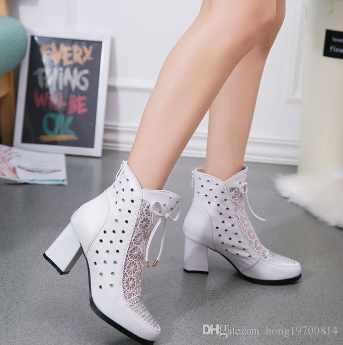 Hochqualitative Stivali Genuino Stivaletti von Pelle Stivali In Pizzo Stivali Estivi Zapatos Chaussures Frau Piazza Tacco Alto Scarpe