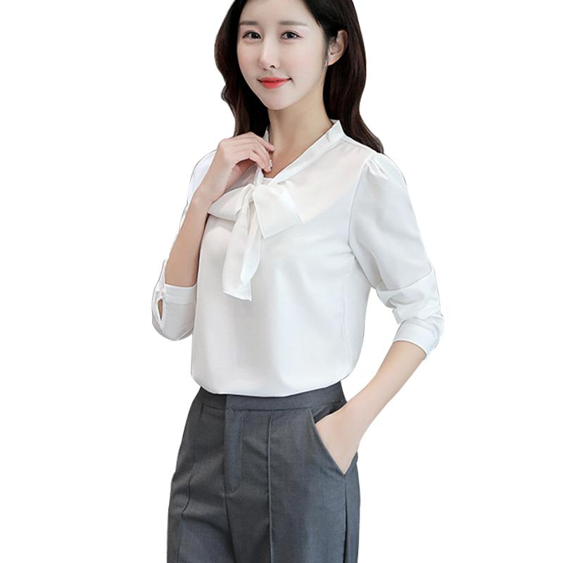 2019 2018 New Office Work Women Summer Chiffon Blouses White Lady Shirts  Casual O Neck Bow Tie Long Sleeve Tops Cheap Clothes China From Piterr 1035855f9a92
