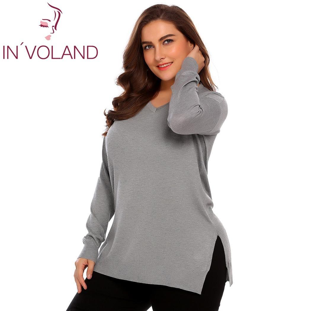 2019 IN VOLAND Women Basic Sweater Tops Plus Size L 4XL Spring Autumn Casual  V Neck Loose Large Long Sleeve Solid Pullovers Big Size Y18101603 From ... 51ee0c6b4545