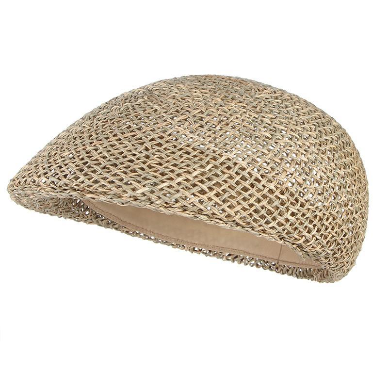 f17535acfd9d Sombreros de verano para hombres Hollow Out Sombrero de paja de malla Gorra  de pico de boina Gorra de sol plana